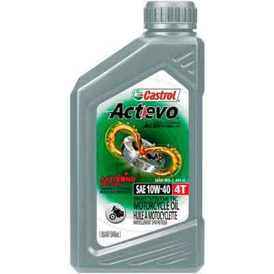 Castrol 06130 Actevo 10W-40 Part Synthetic 4T Motorcycle Oil - 1 Quart Bottle