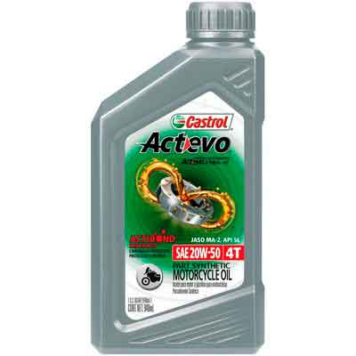 Castrol 06139 Actevo 20W-50 Part Synthetic 4T Motorcycle Oil - 1 Quart Bottle