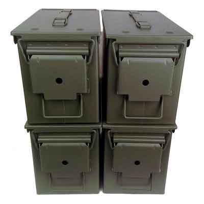 4-pack Mil Spec 50 Cal M2A1 Empty Ammo Cans New