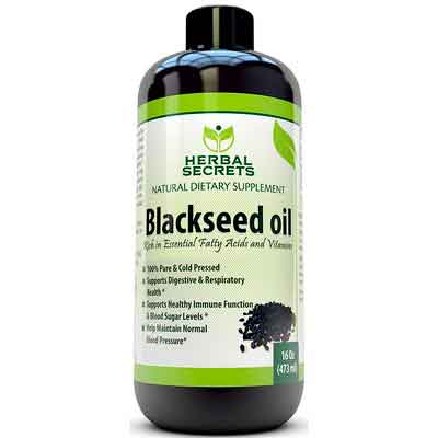 Herbal Secrets Black Seed Oil Natural Dietary Supplement - Cold Pressed Black Cumin Seed Oil from...