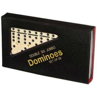 Double 6 Jumbo Dominoes - Ivory