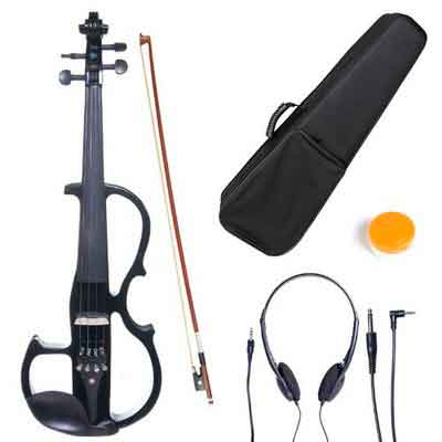Cecilio 4/4 CEVN-2BK Solid Wood Electric/Silent Violin with Ebony Fittings in Style 2 - Full Size - Black Metallic