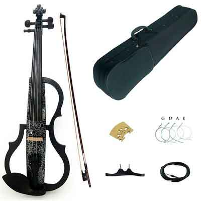Kinglos 4/4 Black Flowers Colored Solid Wood Advanced 3-Band-EQ Electric / Silent Violin Kit with Ebony Fittings Full Size