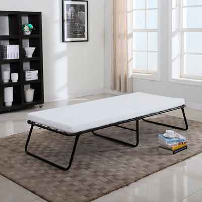 Divano Roma Furniture Low Profile Platform Folding Cot Bed Frame With Memory Foam Mattress  Designed for Easy Storage