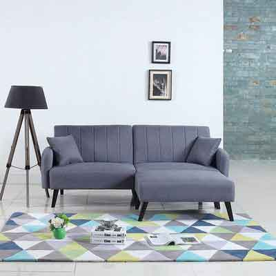 Mid-Century Modern Linen Fabric Futon Sofa Bed Living Room Sleeper Couch [Light Grey]