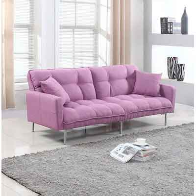 Divano Roma Furniture Collection - Modern Plush Tufted Linen Fabric Splitback Living Room Sleeper Futon