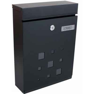 PEELCO Modern Rust Proof Powder Coated Galvanized Steel Black Vertical Lockable Mailbox