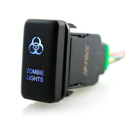 Ambuker LED Push Button on-off Switch with Connector Wire Kit for Toyota - Laser Etched ZOMBIE LIGHTS Symbol -Blue