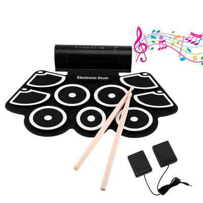 OCDAY 9 Pad Portable Electronic Drum Set Portable Drum Practice Pad Silicon Roll Up Electronic Drums Pad Kit with Speaker