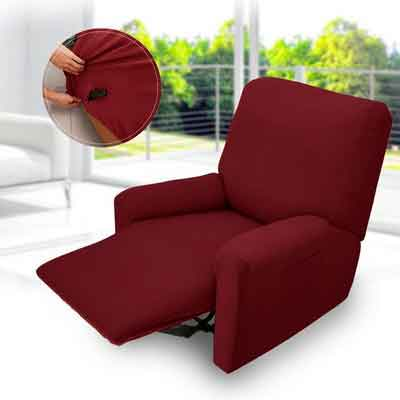 Auralum 4 Piece Recliner Covers Chair Sofa Furniture Slipcover Protector Couch Spandex Stretch Fabric with Pocket