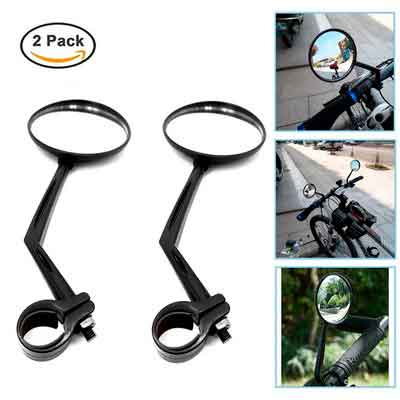 2 Pack Glass Bike Mirrors 360 Rotation Rear view Mirror for Bicycle Mountain Bike