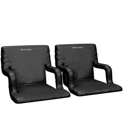 Wide Stadium Seats Chairs for Bleachers or Benches - Enjoy Extra Padded Cushion Backs and Armrests - 6 Reclining Custom Fit Sport Positions - Portable Easy to Carry Straps - Set of 2