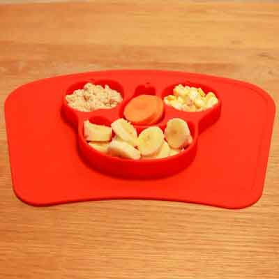 Mockins Mess Free Silicone Suction Baby Placemat With Bowl And Plate Is Safe For Children And All Kids And Toddlers Will Fit Most Highchair Feeding Tray In Your Kitchen Or Dining Table - Red Fruits