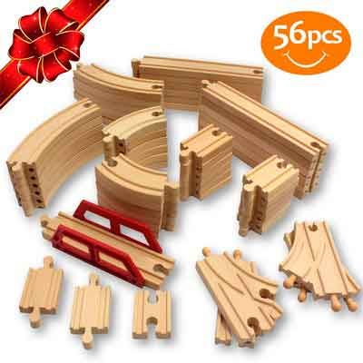 ToysOpoly Wooden Train Tracks 56 Piece Pack - 100% Compatible with Thomas