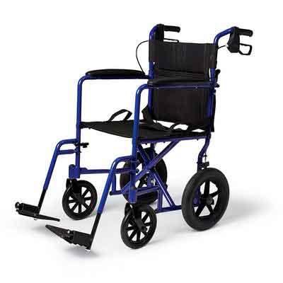 Medline Lightweight Transport Adult Folding Wheelchair with Handbrakes