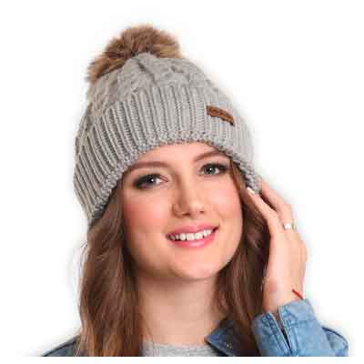 Faux Fur Pom Pom Beanie by Brook + Bay - Stay Warm & Stylish this Winter - Thick
