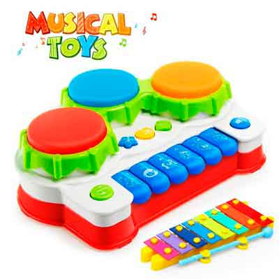 Baztoy Baby Toys Piano Music Keyboard Toddler Toys Xylophone Hand Drum Christmas Birthday Gift with Flash Lights for Kids Early Educational Learning