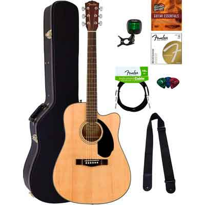 Fender CD-60SCE Dreadnought Acoustic-Electric Guitar - Natural Bundle with Hard Case
