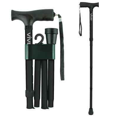 Folding Cane by Vive - Walking Cane for Men & Women - Collapsible