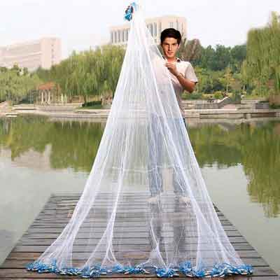 Handmade American Saltwater Fishing Cast Net with Heavy Duty Real Lead Weights for Bait Trap Fish 5ft/6ft/7ft/8ft/9ft/10ft Radius