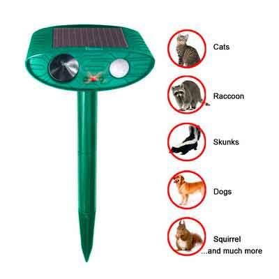 Redeo Cat Repellent Outdoor Solar Powered Ultrasonic Animal & Pest Repeller Scare Cat Dog Deer Rabbit Squirrel and Other Unwanted Animals Away