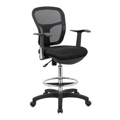 OFFICE FACTOR MESH DRAFTING CLERK STOOL OFFICE CHAIR YOU CAN USE THIS STOOL WITH THE ARMS REST OR WITH OUT THE ARMS REST IT HAS A VERY GOOD SEAT CUSHION ALSO THE BACK TILT TENSION CAN BE ADJUSTED