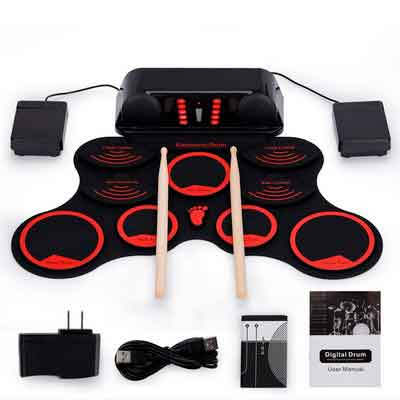 Roll-Up Drum Kit Portable Electronic Drum Set with Rechargeable Battery Foot Pedals Drumsticks Built in Loud Speakers