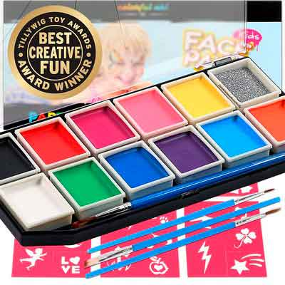 Award Winning Face Paints | Professional 12 Color Mega Palette Face Painting Kits for Kids | Best Cosplay Paint Kit | 3 Brushes Glitter 30 Stencils Sturdy Case | Fda Approved Non Toxic | Online Guide