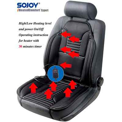 Sojoy SJ154A Universal 12V Heated Car Seat Heater Heated Cushion Warmer High/Low/Temp Switch