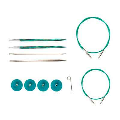 Knit Picks TRY IT Interchangeable Knitting Needle Set - Caspian Wood and Nickel Plated Tips