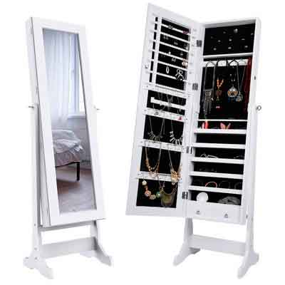 LANGRIA Lockable Jewelry Cabinet Free Standing Jewelry Armoire Organizer Full Length Mirrored