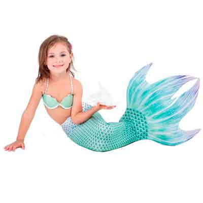 Girl's Mermaid Tail Swimwear for Swimming include Bikini Top with Monofin Swim Fins for Children kids