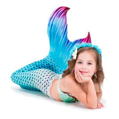 Ariel Little Mermaid Tails for Swimming with Swimmable Monofin Swimfins Swimwear Two-pieces Bikini Set for Girls Kids Size 6-12