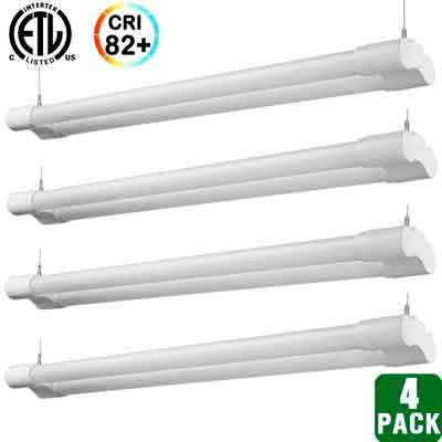 Hykolity 4ft 36 Watt Integrated LED Shop Light Hanging Garage Lamp 82+ CRI 3600 Lumens 5000K Daylight White 64 Watt Fluorescent Equivalent-Pack of 4