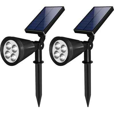 LED Solar Spot Light  Pack of 2 - Waterproof and Adjustable