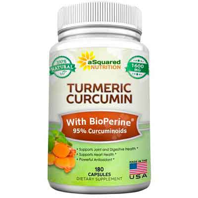 Pure Turmeric Curcumin 1600mg with BioPerine Black Pepper Extract - 180 Capsules - 95%...