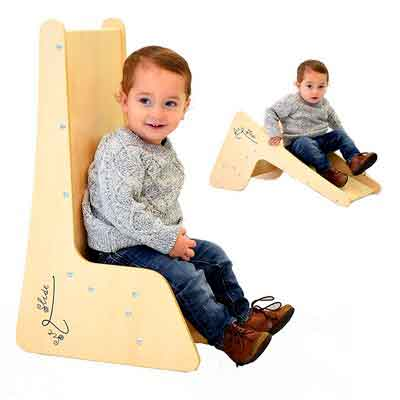 Toddler Chair and Slide for Kids - Sit and Slide 2 in 1. Real Wood Color Natural Wood