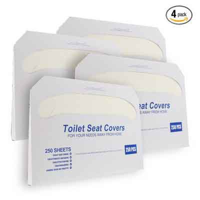 Paper Toilet Seat Covers - Disposable - Half-Fold Toilet Seat Cover Dispensers - White - 4 Pack of 250 - 14