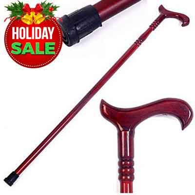 Healthy Home Helper Walking Cane: Ambidextrous Unisex Mahogany-Stained Eucalyptus All-Wood Cane...