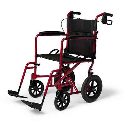 Medline Lightweight Transport Adult Folding Wheelchair with Handbrakes