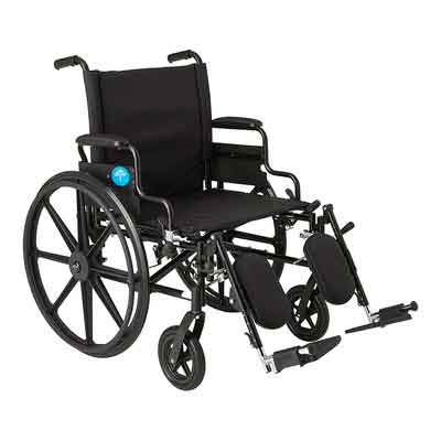 Medline Premium Ultra-lightweight Wheelchair with Flip-Back Desk Arms and Elevating Leg Rests for Extra Comfort
