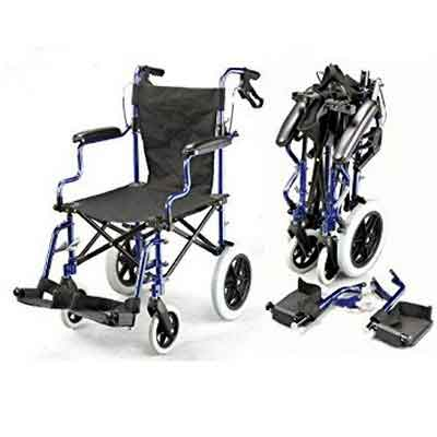 Lightweight Deluxe Folding Transport Travel Wheelchair in a Bag with Handbrakes ECTR04
