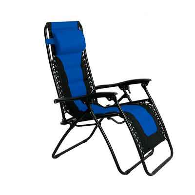 PHI VILLA Padded Zero Gravity Lounge Chair Patio Foldable Adjustable Reclining for Outdoor Yard Porch Blue