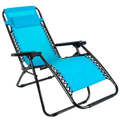Ancheer Zero Gravity Chair Outdoor Lounge Chaise with Foldable Steel Construction and Durable Mesh Fabric-300lbs Capacity