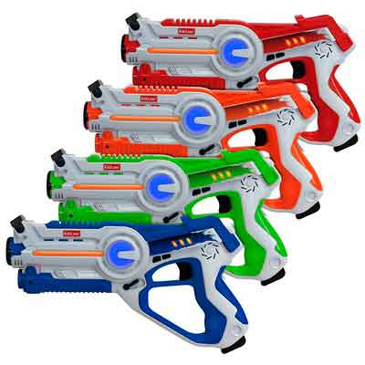 Kidzlane Infrared Laser Tag : Game Mega Pack - Set of 4 Players - Infrared Laser Gun Indoor and Outdoor Group Activity Fun. Infrared 0.9mW