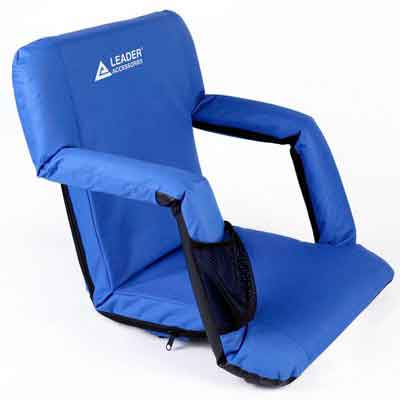 Leader Accessories Water Resistant Stadium Seat Cozy Portable Reclining Seat Folding Bleacher Chair with Arm Rest