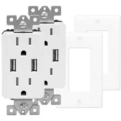 TOPGREENER TU2152A-W-2PCS Wall Outlet with USB